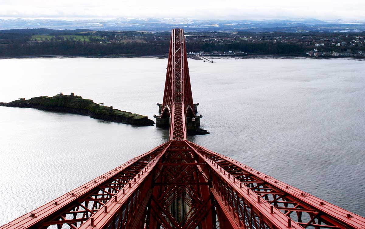 Forth Bridge looking down into Scotland
